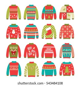 Ugly sweaters set, vector illustration. Can be used for party invitation, greeting card, web design