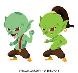ugly trolls magic characters vector ilustration