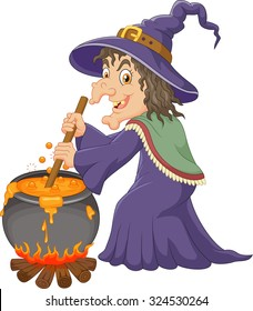 The ugly witch is stirring the protion