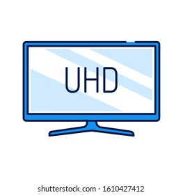 UHD TV display color line icon. Ultra High-definition television, UHDTV. Resolution 1920x1080 Editable stroke.