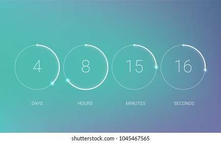 UI countdown clock counter timer. Vector digital count down circle board with circle time pie diagram. Scoreboard of day, hour, minutes and seconds for web page upcoming event template design.