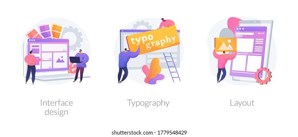 UI design abstract concept vector illustration set. Interface design, typography and layout, visual element, website and application, responsive webpage, usability test, browser abstract metaphor.