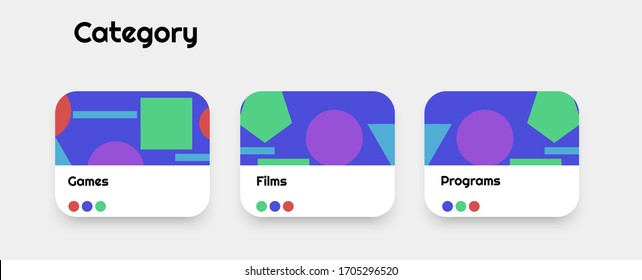 UI design buttons for different apps, programs, stores, websites etc. Categories and pictures with shadows and 3d effect. Eps 10 vector
