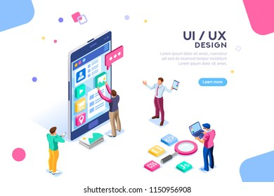 UI design concept with character and text for designer. Device content place infographic. Software group, kit for phone seo programming. UX, digital hero creative flat isometric vector illustration