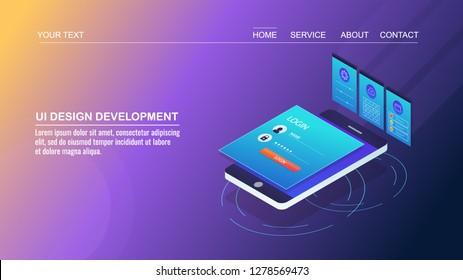 UI design development, User interface design - Mobile app development - 3D isometric vector banner