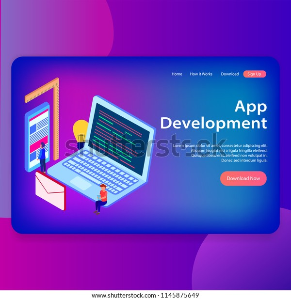 Ui Design Template Landing Page App Stock Vector (Royalty Free