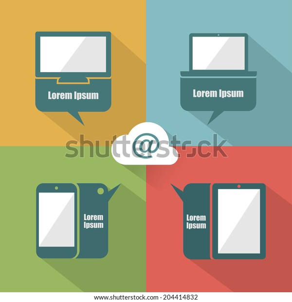 UI devices with speech bubbles - vector illustration