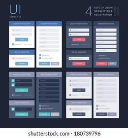 UI elements, 4 sets of login, newsletter and registration form, flat design