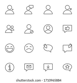 UI elements line icons set, outline vector symbol collection, linear style pictogram pack. Signs, logo illustration. Set includes icons as user interface, message, feedback, speech bubble, contact