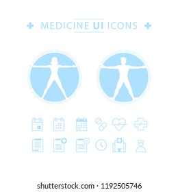 UI elements for medicine application. Vitruvian man and woman. Medical simple icons