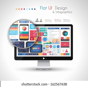 UI Flat Design Elements in a modern HD screen computer: Web and Infographics theme.