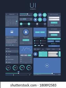UI flat design elements, modern, dark