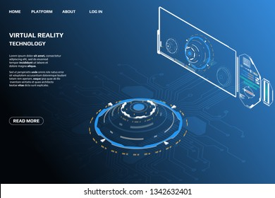 UI Futuristic Isometric 3D Technology Big Data Communication Transfer Concept. Scifi Display Gadget Virtual Reality Monitoring System Element For Web, Game, App Illustration