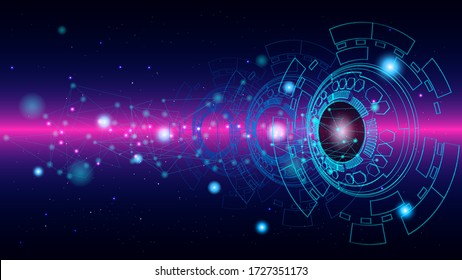 UI Hi-tec interface blue abstract digital technology with glowing particles, vector illustration