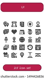 ui icon set. 25 filled ui icons.  Collection Of - Placeholders, Chat, Clipboard, Plug, Placeholder, Conversation, Heart, Calendar, Boy, Browser, Microphone, Maximize, Phone, Shirt