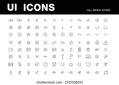 UI icons set, media video player, arrows icon pack, grid and isometric design vector collection