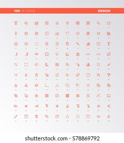 UI icons of web design elements, digital graphics tools. UX pictograms for user interface design, web apps and motion. 32px simple line icons set. Premium quality symbols and sign web logo collection.
