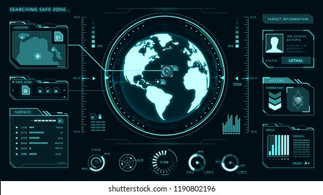 UI interface, earth globe, control center, command, game, vector with graphs