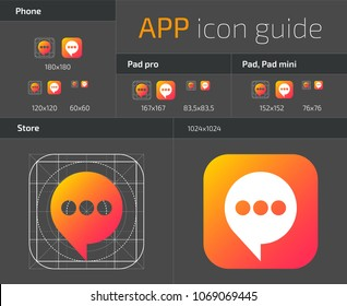 UI IOS button icons design guidelines for web and mobile app vector template. Illustration of application web button ui, ios icon