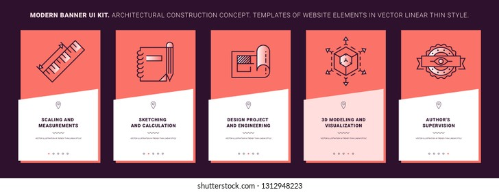 Ui kit banners of interior design process. Concept interior design in line icon style. Building process illustration. Trendy vector thin graphics. Mobile app template on coral background. Ui elements.