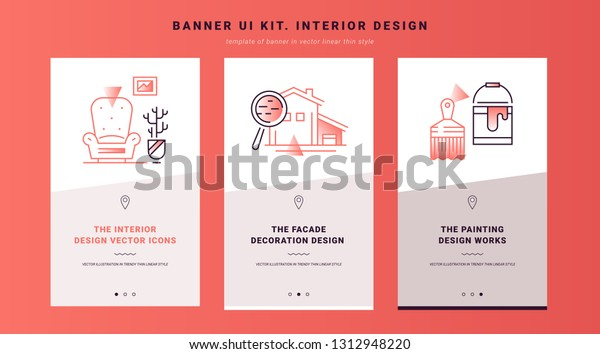 Ui Kit Banners Interior Design Process Stock Vector (Royalty Free ...
