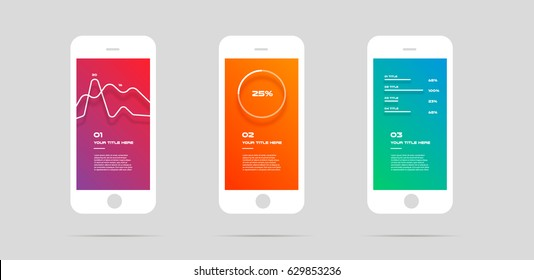 Ui kit, concept mobile app, colorful Infographic. Vector Illustration, can illustrate a strategy, workflow or team work, timeline