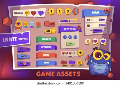Ui Kit for game  -  template user interface, big set buttons, match3 assets