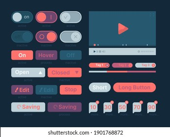 Ui kit. Web themes icon buttons bar menu search line dividers players garish vector template