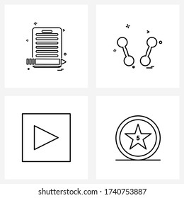 UI Set of 4 Basic Line Icons of clipboard; music; document; bodybuilding; video Vector Illustration
