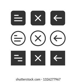 UI set of navigation buttons. Arrows, close, hamburger menu, return signs. Simple vector design.