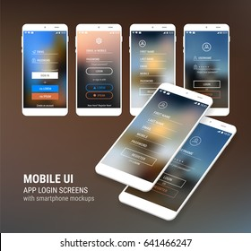 UI Sign In and Sign Up screens and 3d Smartphone mockup kit