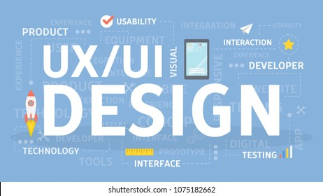 UI and UX design concept illustration. Idea of creativity and user.