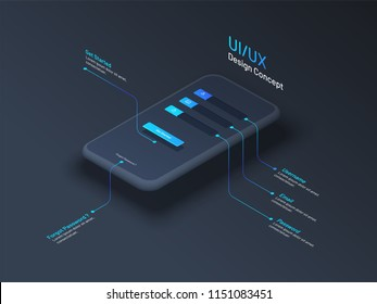 UI or UX design concept with isometric illustration of smartphone with access or login window.