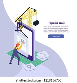 UI UX design. Mobile application technology. Isometric smartphone illustration. Designer engineering smartphone interface. Isometric vector illustration.