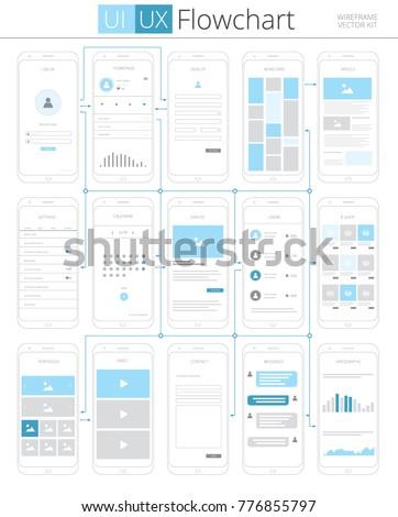 Ui Ux Flowchart Infographic Scheme Vector Stock Vector Royalty Free