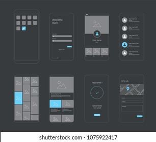 UI UX Flowchart Smartphone Layout. Vector illustration