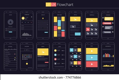 UI UX Flowchart Template Vector illustration Infographics Elements