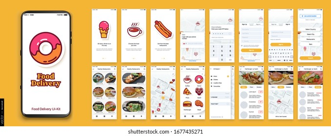 UI, UX, GUI Mobile app design. Food Delivery, Search for Cafes and Restaurants, a selection of dishes. Delivery of Pizza, Sushi, Fast Food, Donuts. Tracking on a city map.