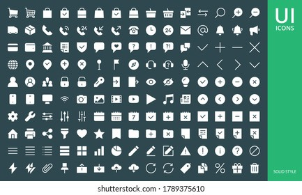 UI UX icon set. Set of website user interface solid and glyph icons