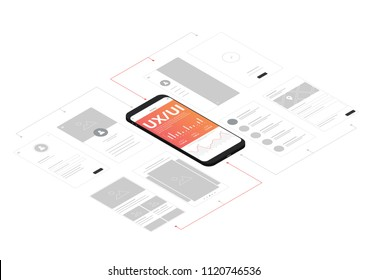 UI UX Isometric Smartphone Wireframe Vector Illustration