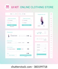 UI / UX Kit for online clothing store: icons set, login form, registration form, dropdown menu, shopping bag, example item card, range of sizes, pagination. Card product. Basket page. Vector.