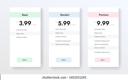Ui ux vector banners with hosting plans, price list, three tariffs, subscription. Vector colums elements for website or app.