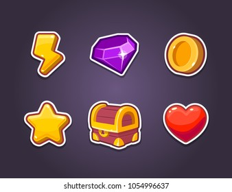 UI Vector Icon Kit for a games. Set of elements. Vector illustration. Icons of Energy, Diamond, Ruby, Chest, Leaves , Star and Rating. Can use to Mobile, web of video Games. Isolated.