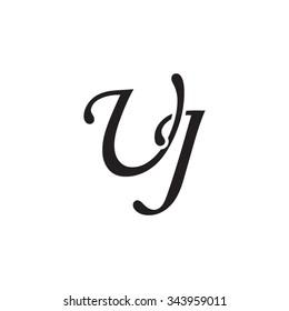 UJ initial monogram logo