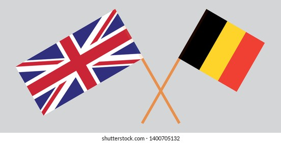 The UK and Belgium. British and  Belgian flags. Official colors. Correct proportion. Vector illustration