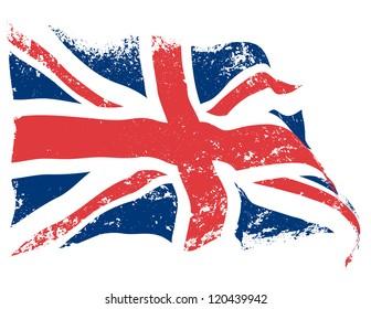 UK or Britain flag grunge waving.