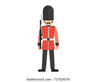 UK Buckingham Palace Queen Guard In Uniform Illustration