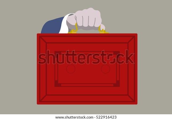 The UK Budget Red Briefcase vector illustration.