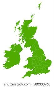 uk Counties green map