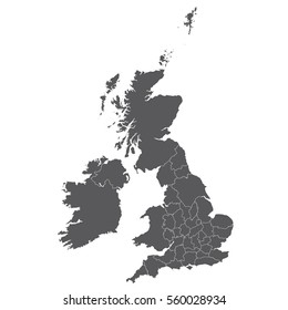 Uk Counties map color black